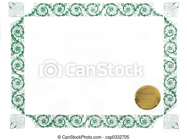 Blank Certificate Certificate Border And Gold Stamp Blank  Stock