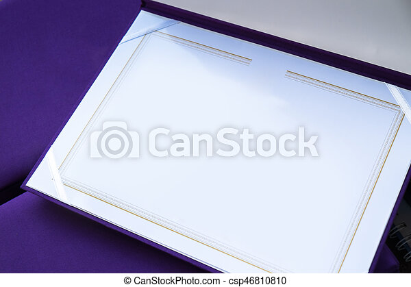 blank certificate template with high quality purple silk cover csp46810810
