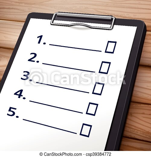 blank checklist clipboard 3d image with check boxes on it