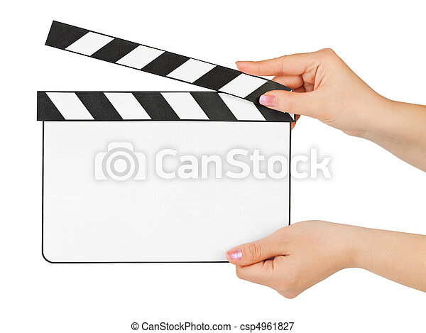 Blank clapboard in hands - csp4961827