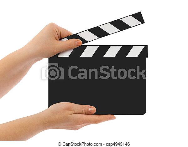 Blank clapboard in hands - csp4943146