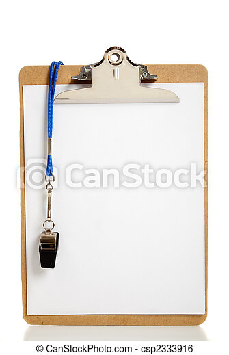 Blank Clipboard and Coaches whistle - csp2333916