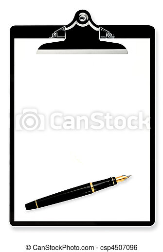 Blank Clipboard with Fountain Pen - csp4507096