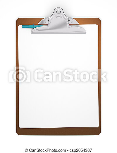 Blank Clipboard with Pen - csp2054387