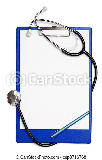 Blank clipboard with stethoscope - csp8716768