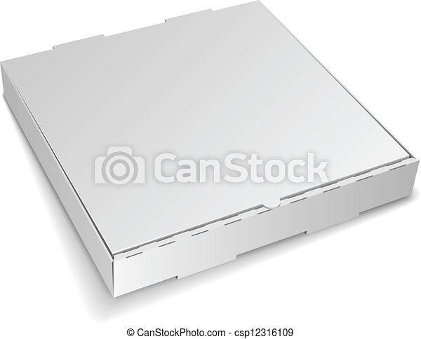 Blank closed cardboard pizza box isolated on white background. - csp12316109