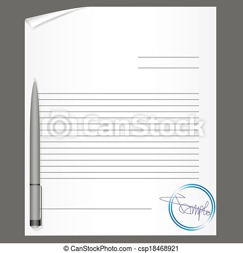 Blank contract with pen. vector illustration. vector illustration ...