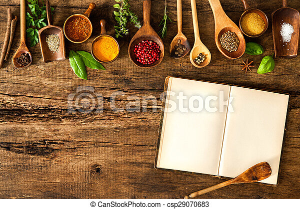 Blank cookbook and spices - csp29070683