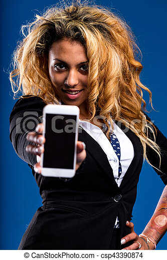 blank COPYSPACE on a smartphone shown by a woman - csp43390874