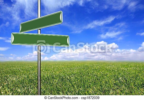 Blank Directional Signs in an Open Field - csp1872039