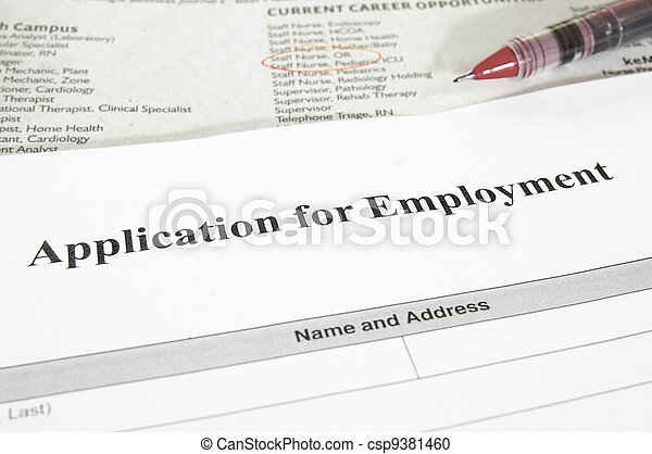 Blank Employment Application And Newspaper Jobs Section Stock