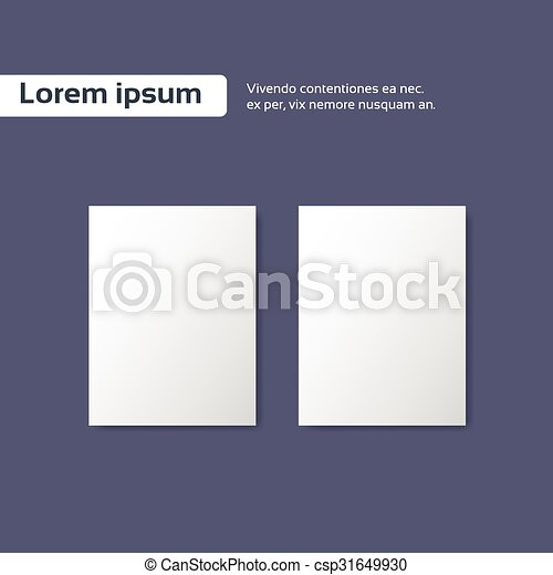 Blank Empty Paper Sheet A4 White Page On Grey Background Template Design