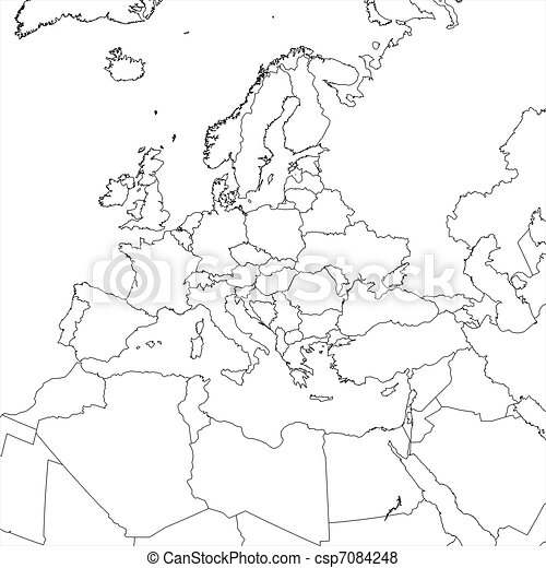 Blank europe map. Blank european regional map in orthographic ...