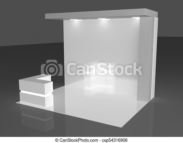 Exhibition Stand White : Blank exhibition stand d render isolated on white background
