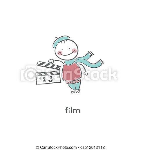 Blank Film slate or clapboard. - csp12812112
