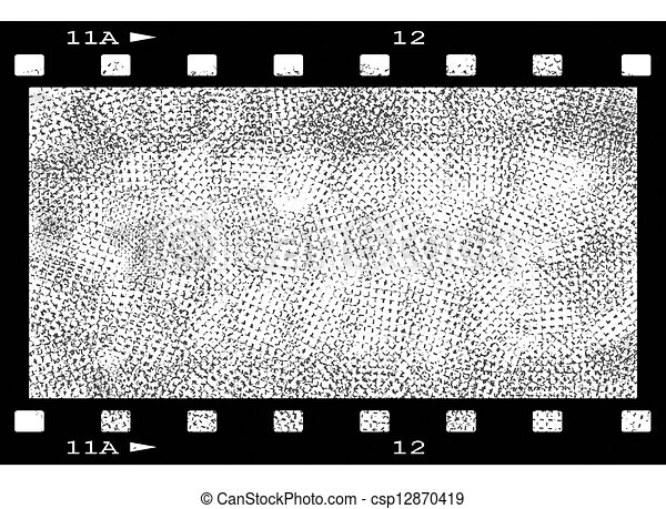 Blank film strip frame and sketch hand drawn background, texture.
