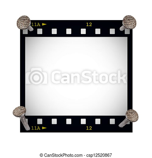 Blank film strip frame with metal nail isolated on white background.