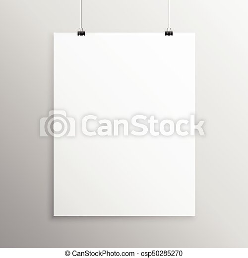 Blank flyer mockup template hanging with clip.