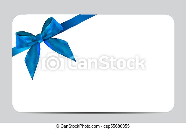 Blank Gift Card Template With Blue Bow And Ribbon Vector - Blank gift card template