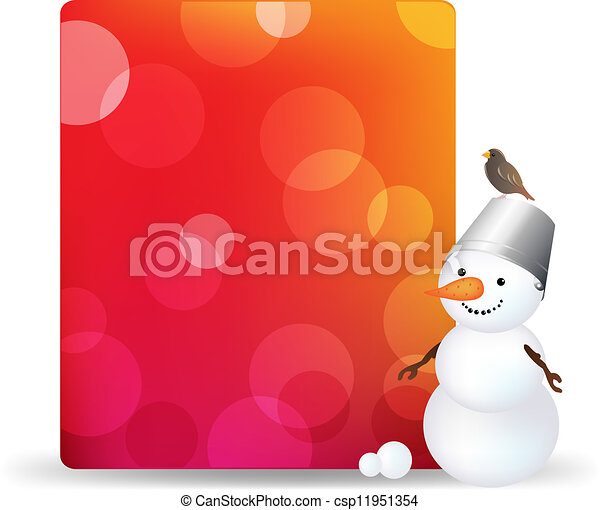 Blank Gift Tag With Snowman And Bird - csp11951354
