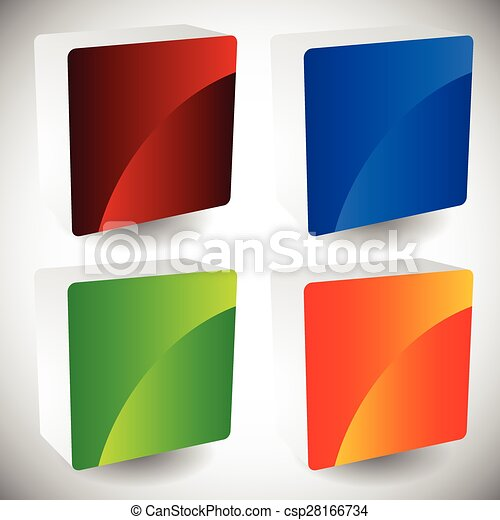 Blank glossy square buttons with rounded corners, vector. Set of 4 colors. Faces of squares consist of 2 pieces. - csp28166734