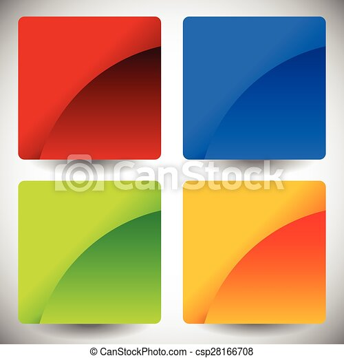Blank glossy square buttons with rounded corners, vector. Set of 4 colors. Squares consist of 2 pieces. - csp28166708