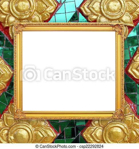 Blank golden frame on thai style buddha wall background.