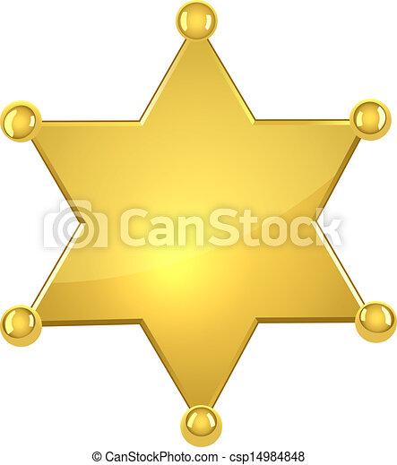 Blank golden sheriff star - csp14984848