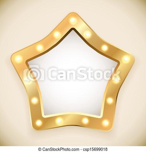 Blank golden star frame with light bulbs vector illustration.