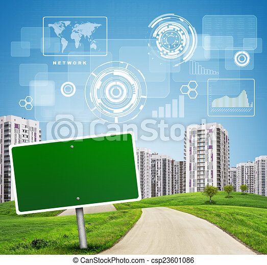 blank green billboard by road running through grassy hills towards city   chart, drafts, diagrams and