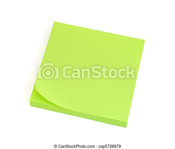Blank Green Post-it Note - csp5726979