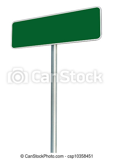 Blank Green Road Sign Isolated, Large White Frame Framed Roadside Signboard Perspective Copy Space - csp10358451