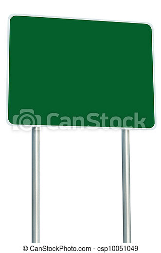 Blank Green Road Sign Isolated, Large Perspective Copy Space - csp10051049
