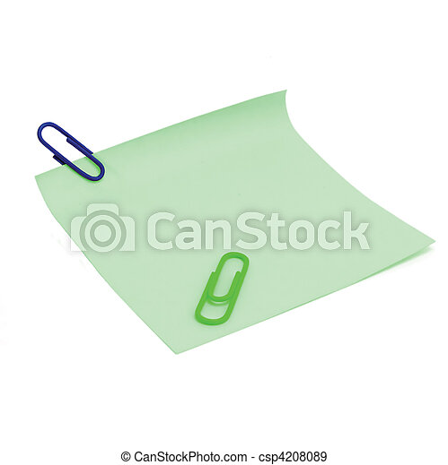 Blank Green To-Do List and paperclips - csp4208089