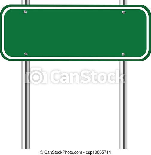 Blank green traffic sign - csp10865714