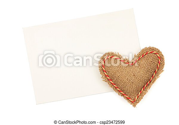 Blank greeting card and vintage handmaded valentines day toy hea - csp23472599