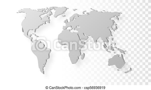 Blank grey abstract world map with shadow template on vector clip blank grey abstract world map with shadow template on transparent background csp56936919 gumiabroncs Images