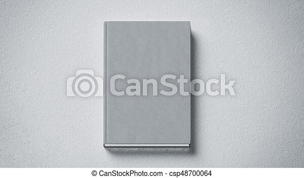 Blank grey tissular hard cover book mock up, front side view - csp48700064