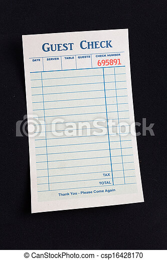 Blank Guest Check  - csp16428170
