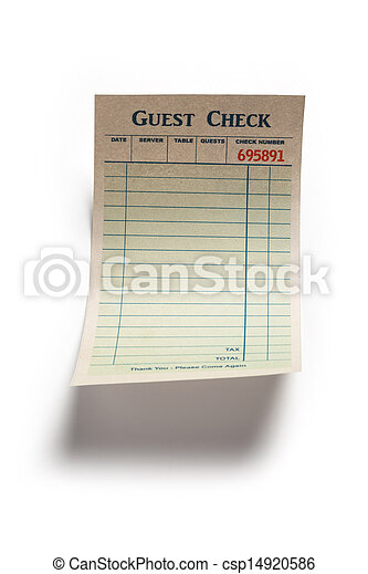 Blank Guest Check  - csp14920586