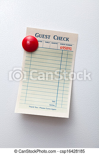 Blank Guest Check  - csp16428185