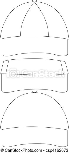 Set of blank hat templates including two ball cap designs... vectors ...