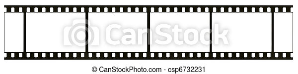 Blank highly detailed real 35mm black-and-white negative film frame, film grain, dust and scratches visible, isolated on white background - csp6732231