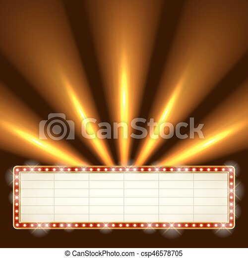 Blank illuminated marquee frame. - csp46578705