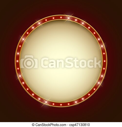 Blank illuminated round marquee frame. show performance... vector ...