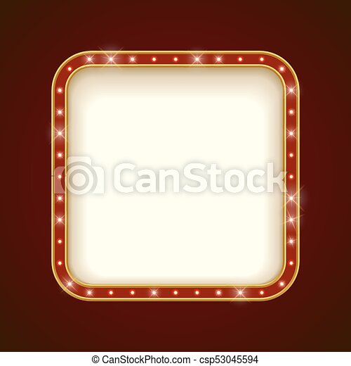 Blank illuminated rounded square marquee frame. show... eps vectors ...