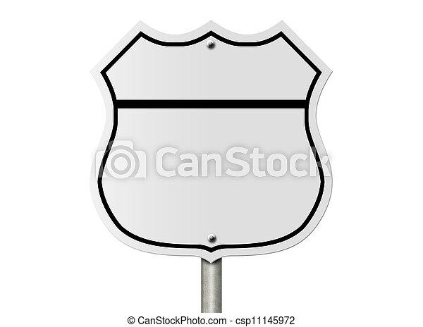 Blank interstate road sign - csp11145972