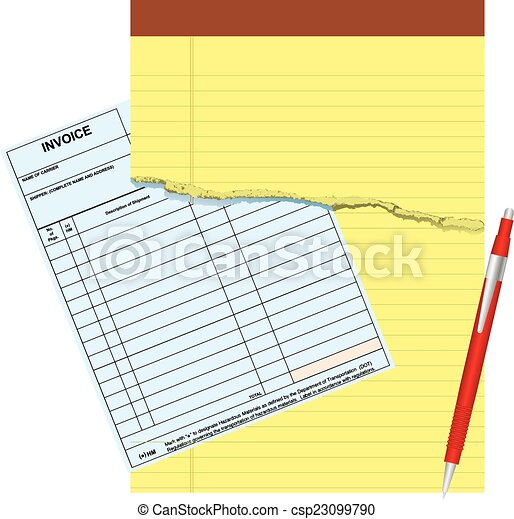 Blank Invoice With Damaged Notepads Vector Illustration