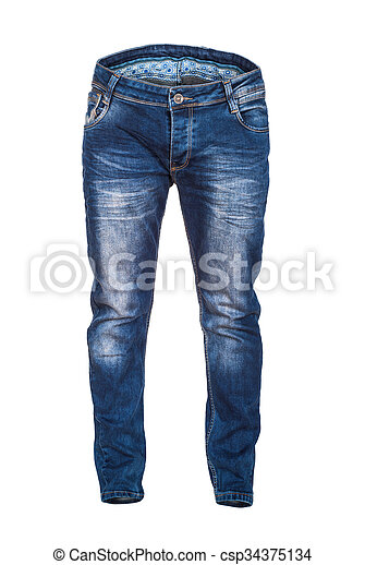blank jeans isolated on white background - csp34375134