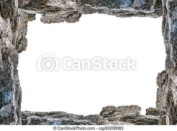 Blank landscape frame with rock borders. White frame background with ...